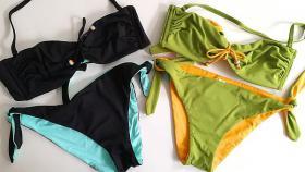 Costumi Da Bagno Sièlei : Bikini a fascia con ferretto e slip allacciato double faces